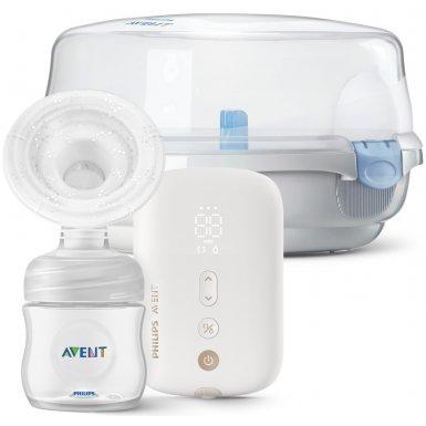 Avent Odsávačka mateřského mléka elektronická Premium dobíjecí SCF396 + Sterilizator do mikrovlnné trouby