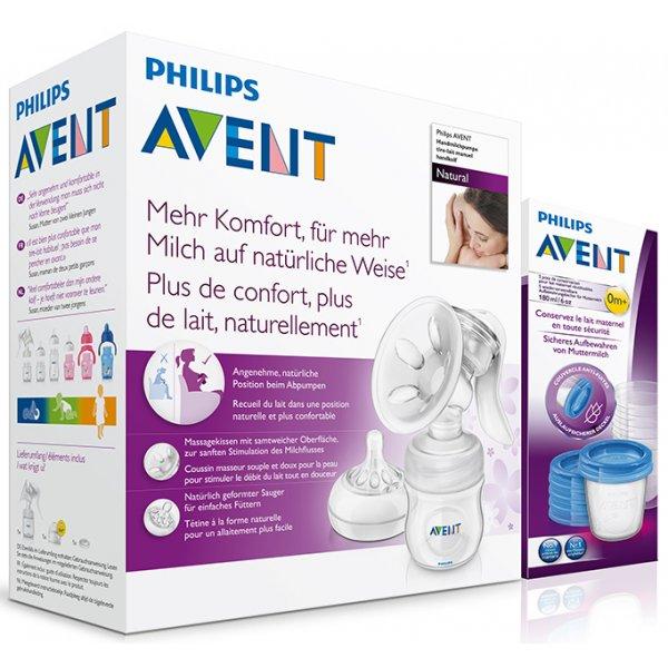 Avent Odsávačka mateřského mléka Natural se zásobníkem 125 ml + VIA 180 ml 5 ks